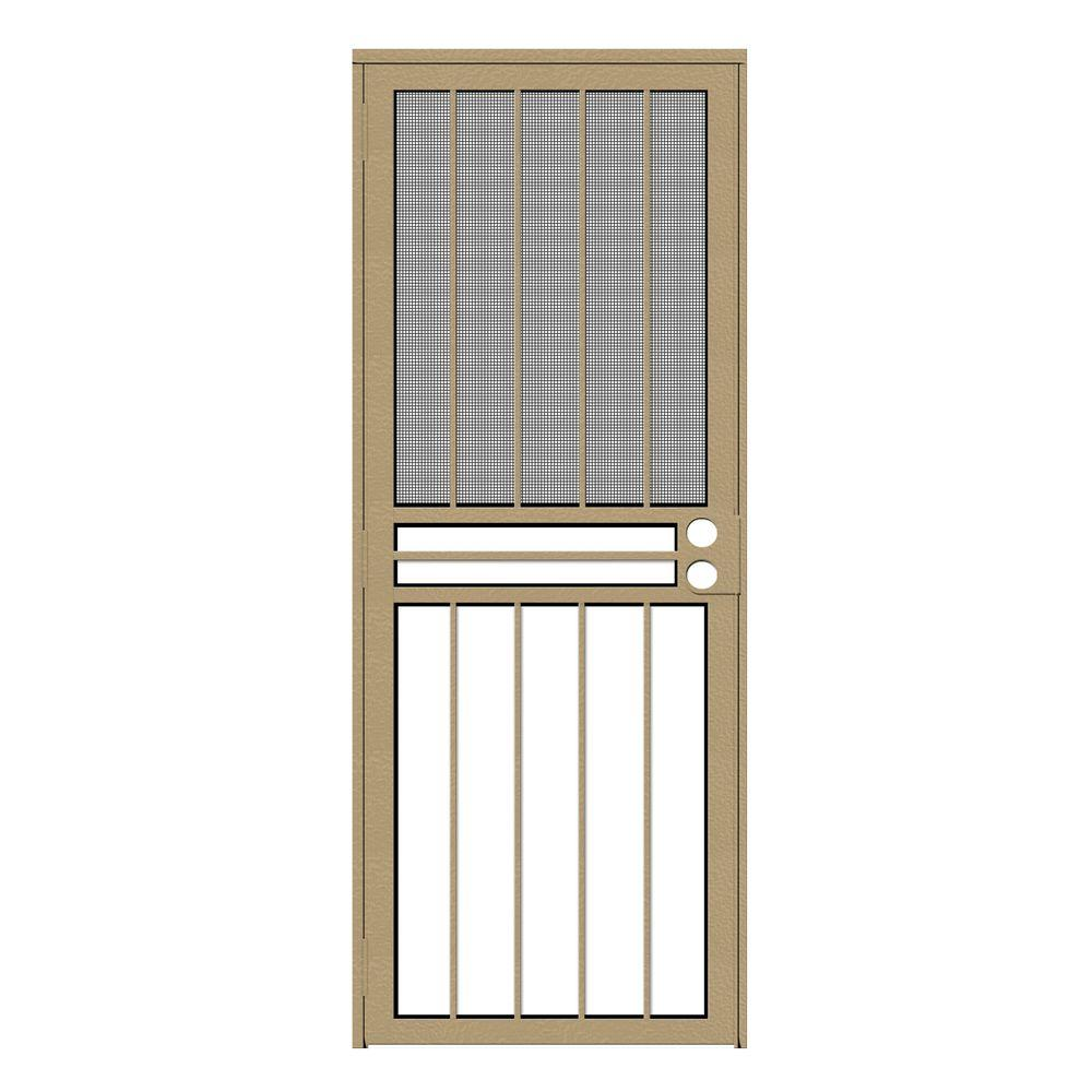 Unique Home Designs 30 in. x 80 in. Paladin Tan Recessed Mount All Season Security Door with Insect Screen and Glass Inserts