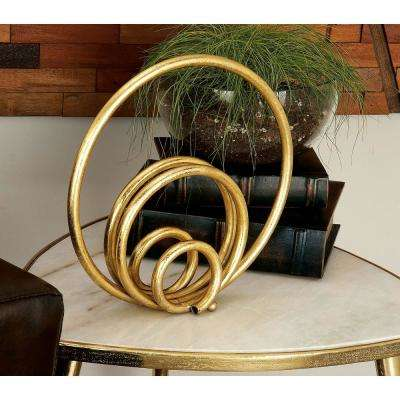 12 in. x 12 in. Modern Concentric Circle Decorative Sculpture in Gold