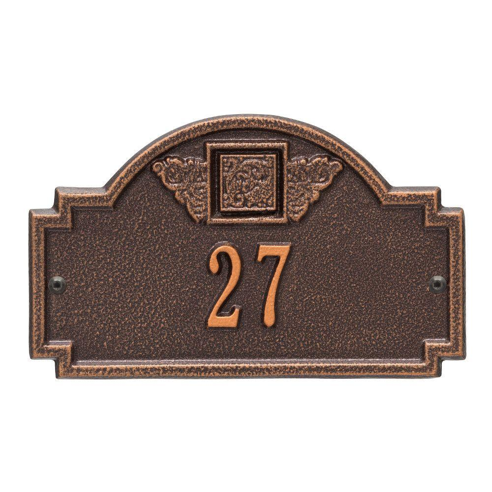 Monogram Petite Wall Square Antique Copper 1-Line Address Plaque
