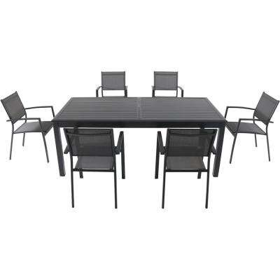 Bryn 7-Piece Aluminum Outdoor Dining Set with 6-Sling Chairs and an Expandable 40 in. x 118 in.  in. Table