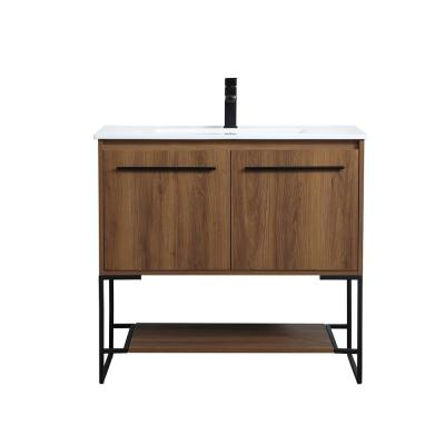 Timeless Home 36 in. W x 18.31 in. D x 33.46 in. H Single Bathroom Vanity in Walnut Brown with Porcelain