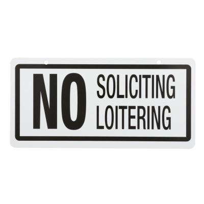 5 in. x 10 in. Plastic No Soliciting/Loitering Sign