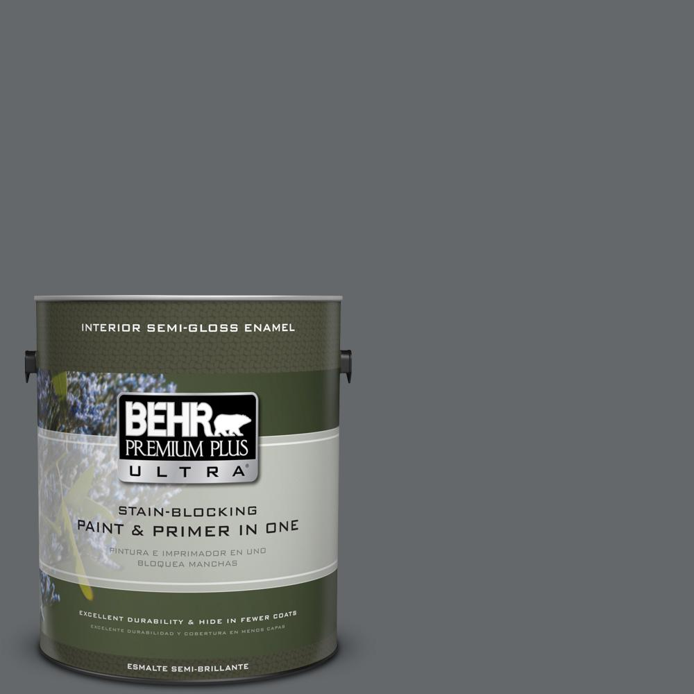 1 gal. #PPU26-02 Imperial Gray Semi-Gloss Enamel Interior Paint