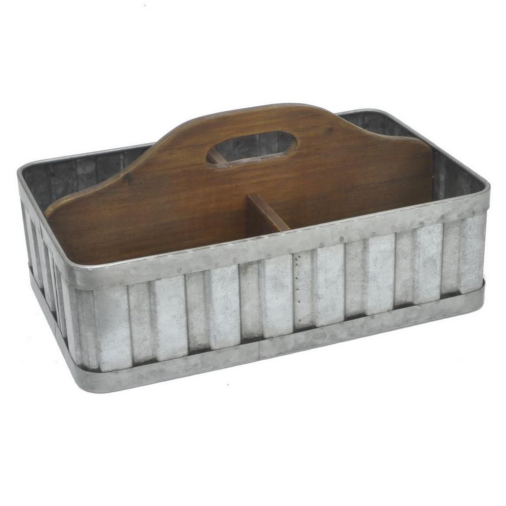 THREE HANDS 7.5 in. Gray Galvanized Tin Caddy-99772 - The Home Depot