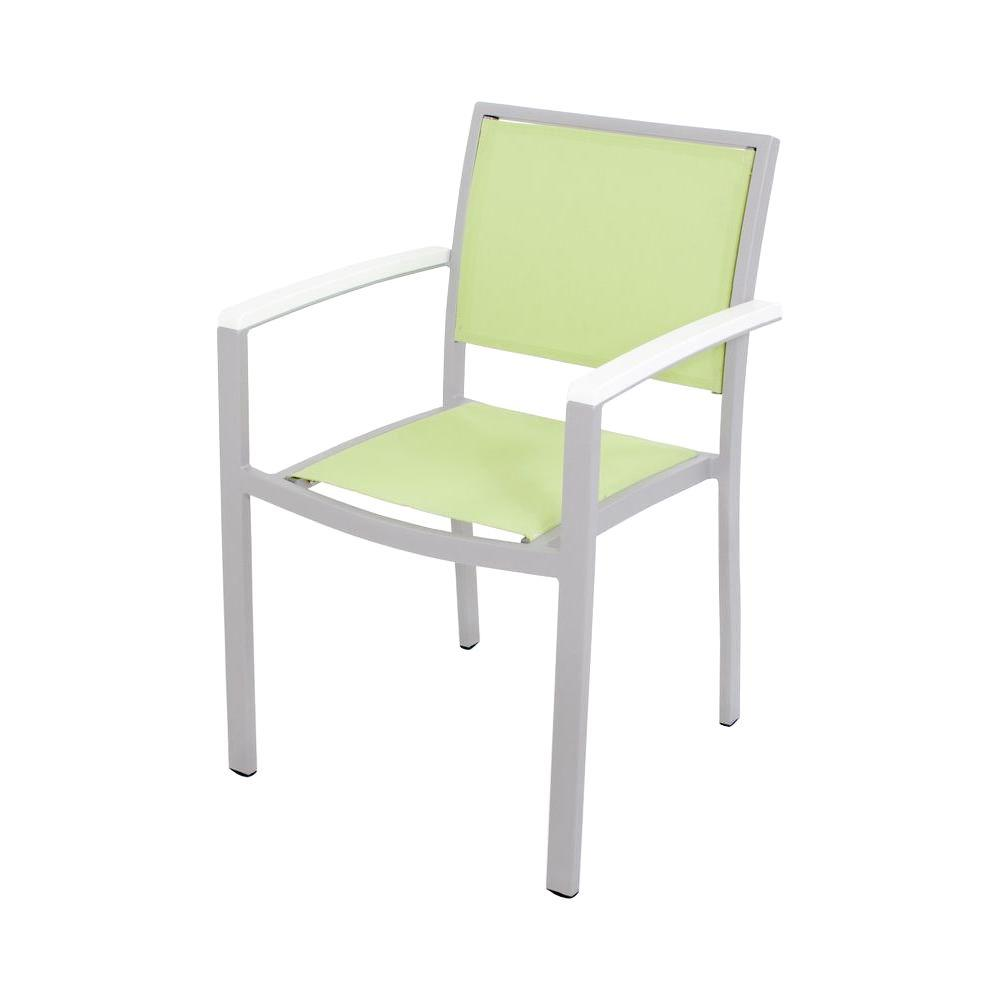 Bayline Textured Silver/White/Avocado Sling Patio Dining Arm Chair