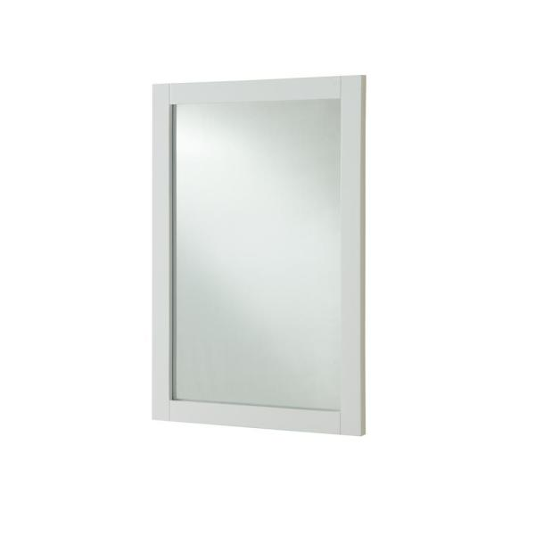 Decor Flair Easton 24 in. Contemporary Mirror with White MDF Frame,