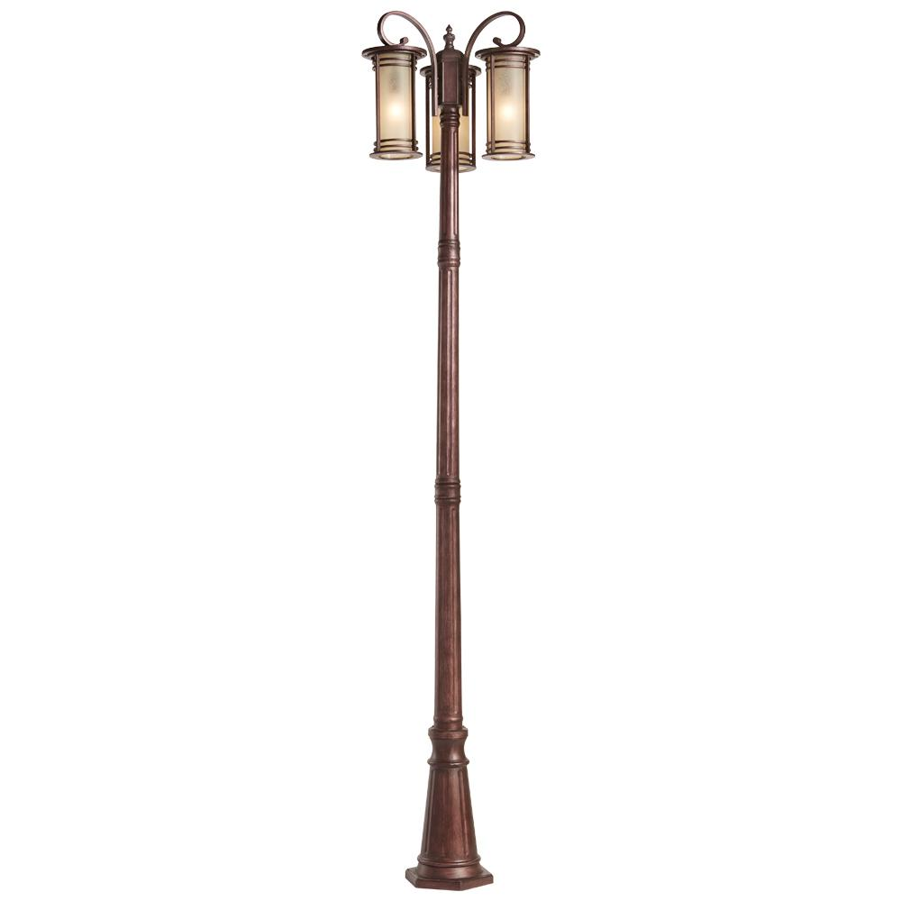 Outdoor Post Light Bulbs: New Outdoor Post Light 3 Amber Glass Bronze Lighting