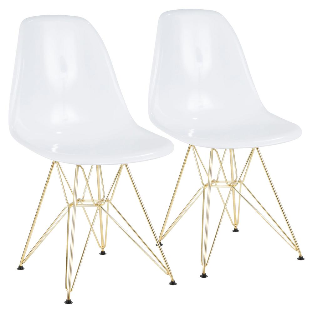 Lumisource Brady White And Gold Dining/Accent Chair (Set Of 2)