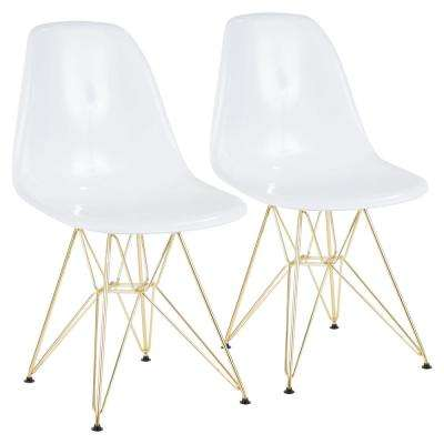 Brady White and Gold Dining/Accent Chair (Set of 2)