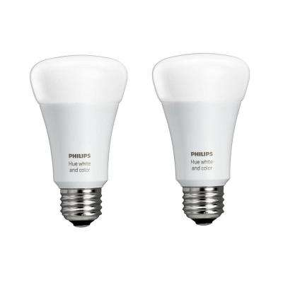 Hue 60W Equivalence White and Color Ambiance A19 Single LED Energy Star Light Bulb (2-Pack)