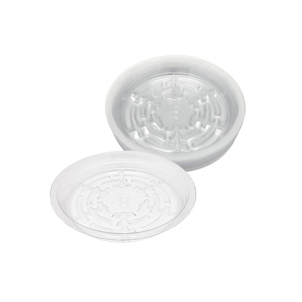 8 in. Clear Plastic Saucer (25-Pack)