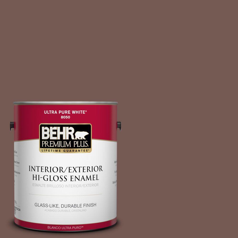 BEHR Premium Plus 1-gal. #220F-7 Yorkshire Brown Hi-Gloss Enamel Interior/Exterior Paint