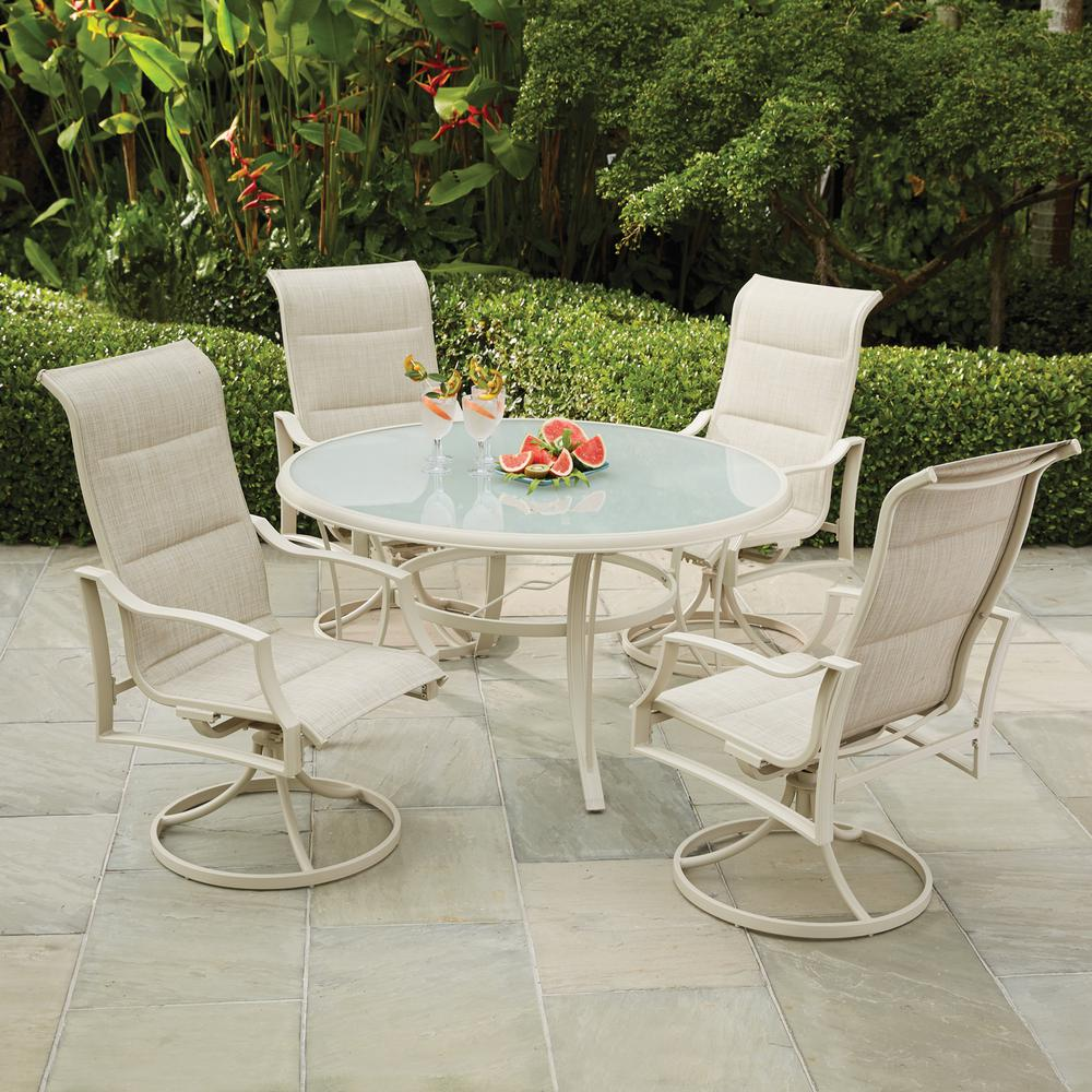 Hampton Bay Statesville Shell 5 Piece Aluminum Outdoor Dining Set