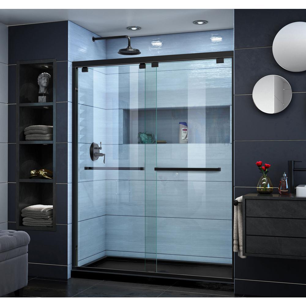 Encore 36 in. D x 60 in. W x 78.75 in. H Semi-Frameless Sliding Shower Door in Satin Black with Center Drain Black Base