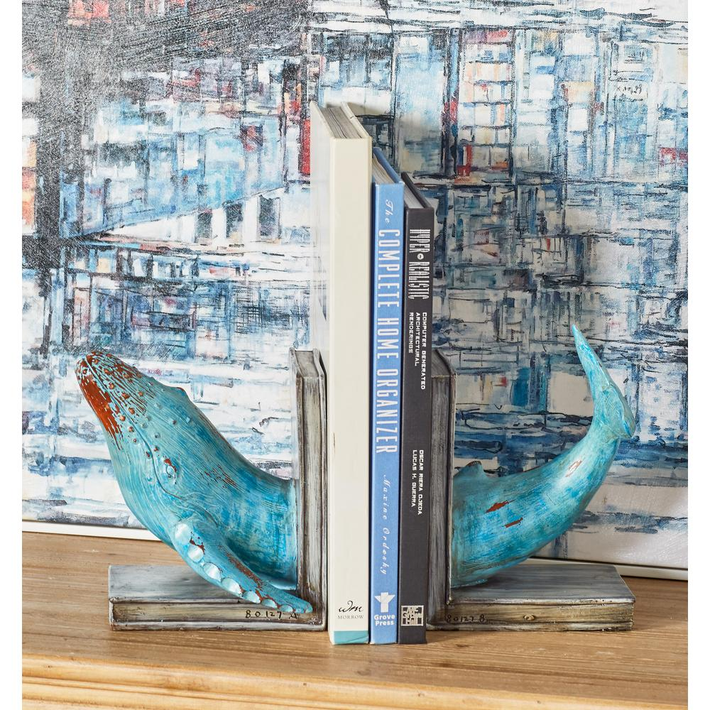 Brown Polystone Dolphin Bookends with Blue Accents (Set of 2)