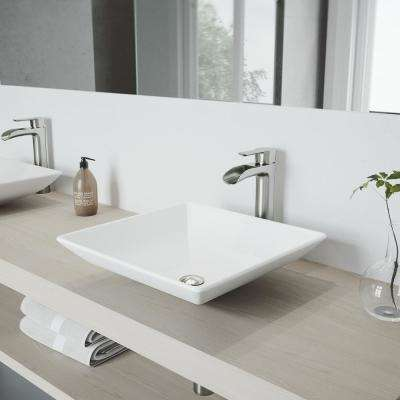Hibiscus Matte Stone Vessel Sink and Brushed Nickel Niko Faucet Set with Pop-up Drain in Matte White