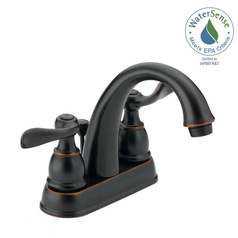 Bathroom Faucets Home Depot Delta delta porter 4 in. centerset 2-handle bathroom faucet in oil