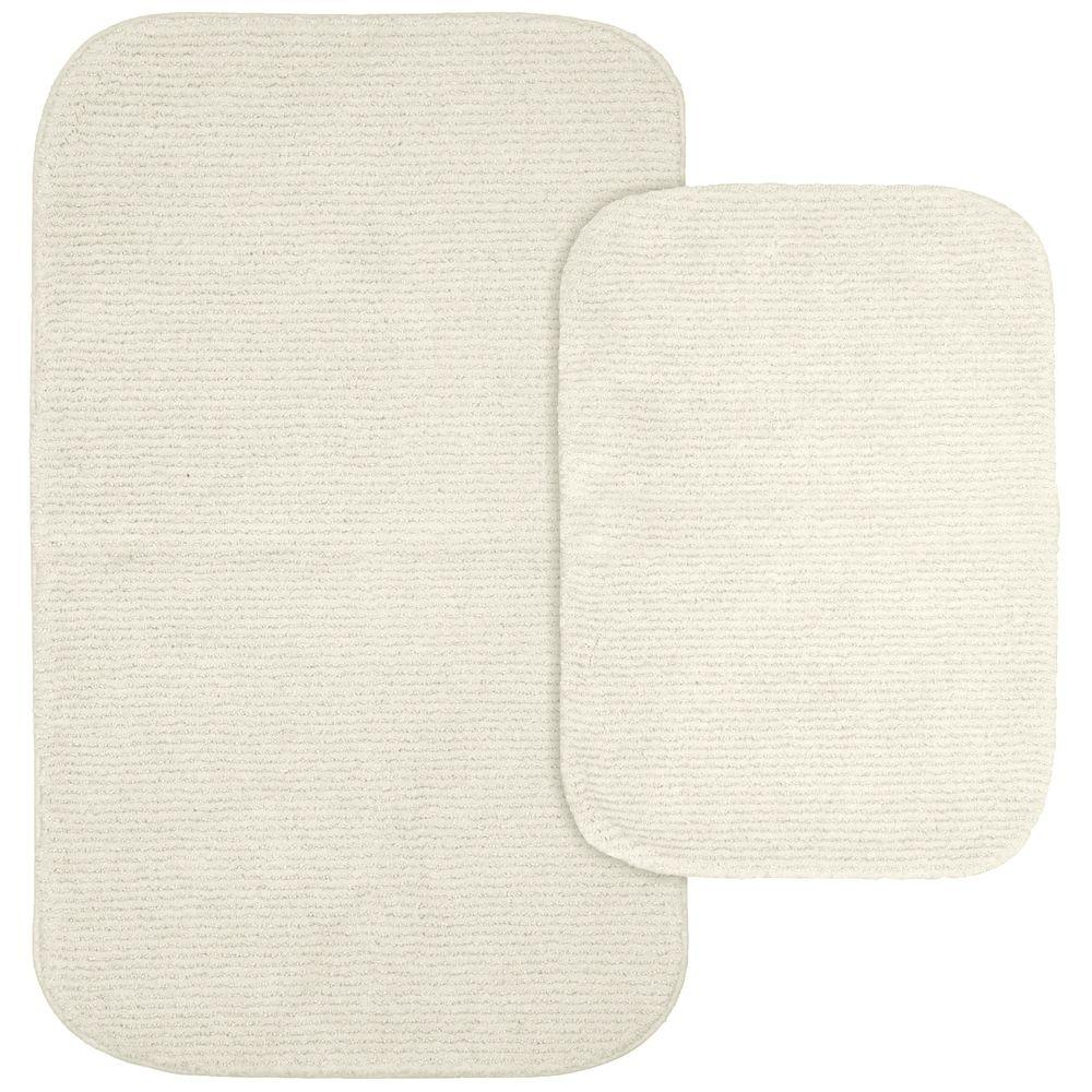 Glamor Ivory 21 in. x 34 in. Washable Bathroom 2-Piece Rug