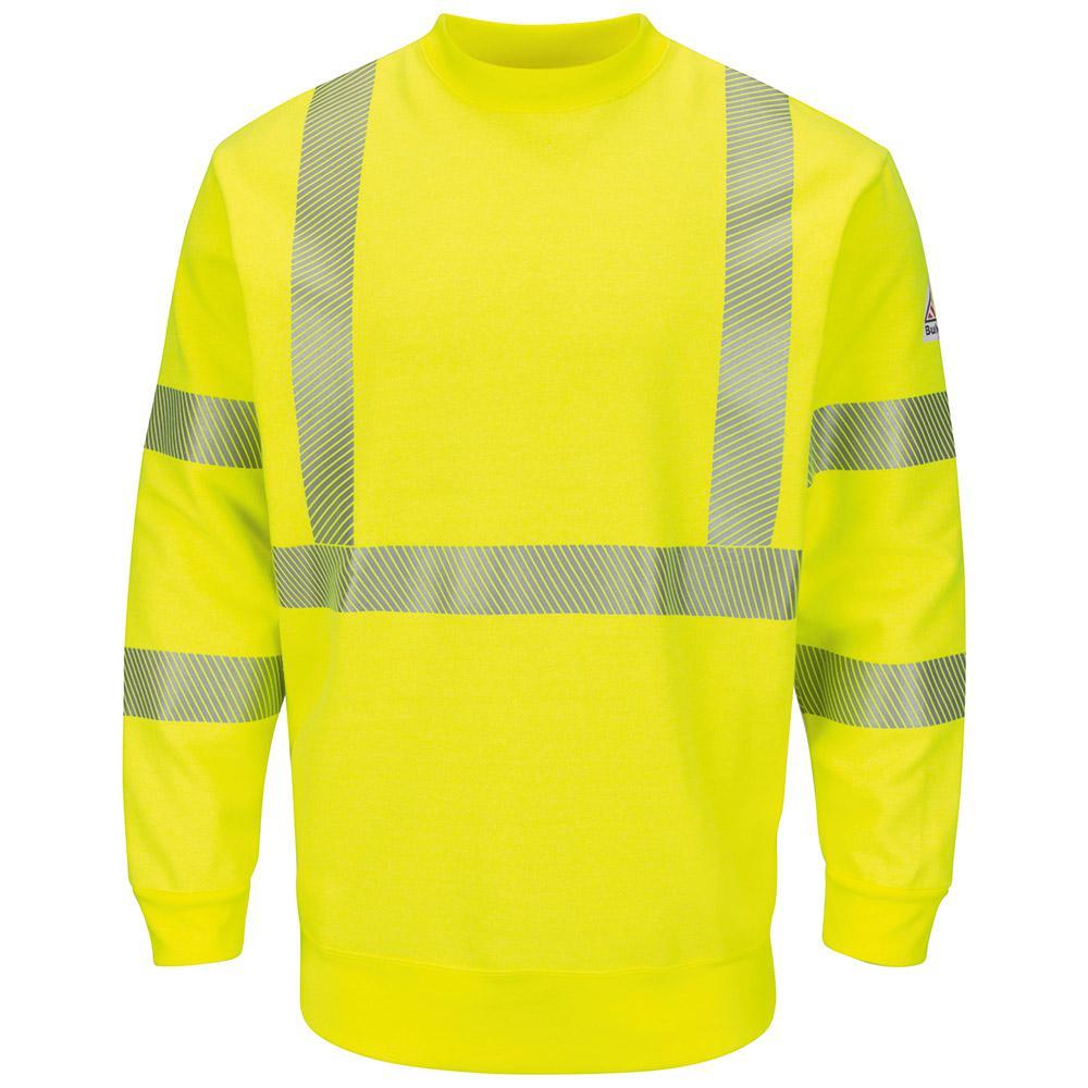 Men's X-Large (Tall) Yellow/Green Hi-Visibility Crewneck Fleece Sweatshirt