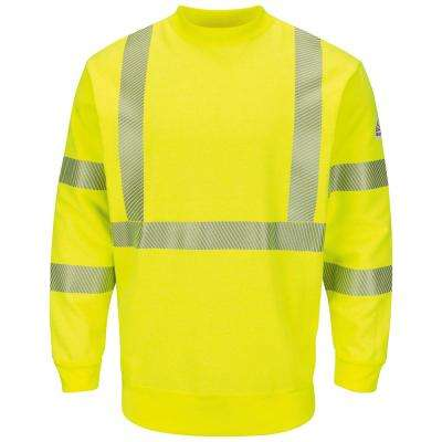 Men's X-Large (Tall) Yellow/Green Hi-Visibility Crewneck Fleece Sweatshirt