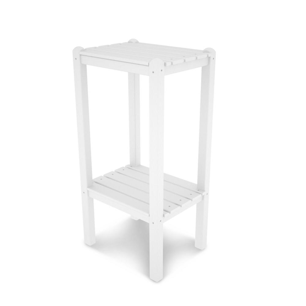Polywood Two Shelf White Outdoor Patio Side Table
