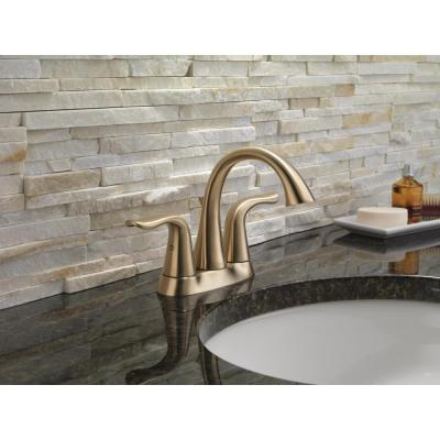 Lahara 4 in. Centerset 2-Handle Bathroom Faucet with Metal Drain Assembly in Champagne Bronze