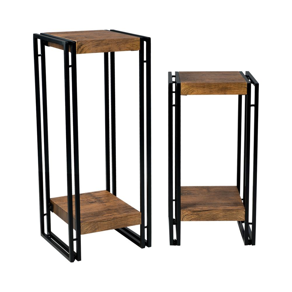 urb SPACE Black Accent Tables Wood laminate-End Tables(Set of 2)