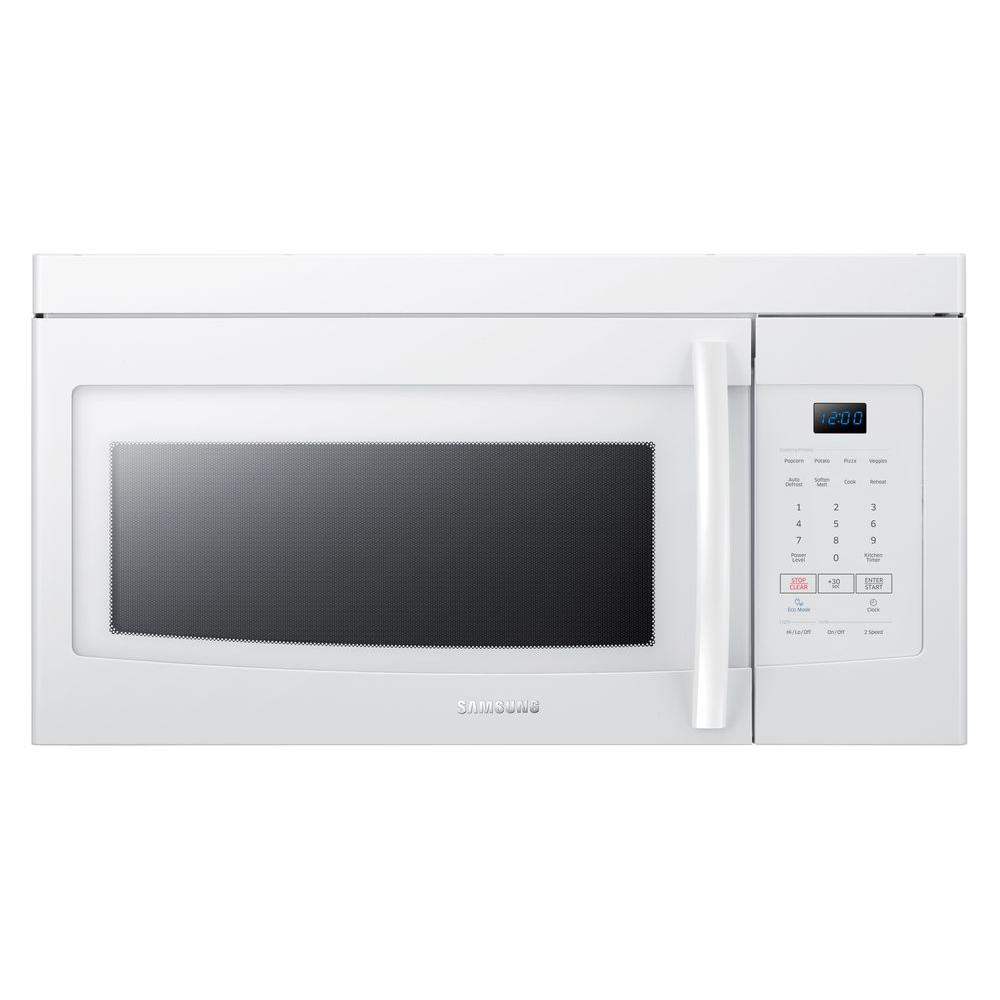 Samsung 1 6 Cu Ft Over The Range Microwave In White Me16k3000aw Home Depot