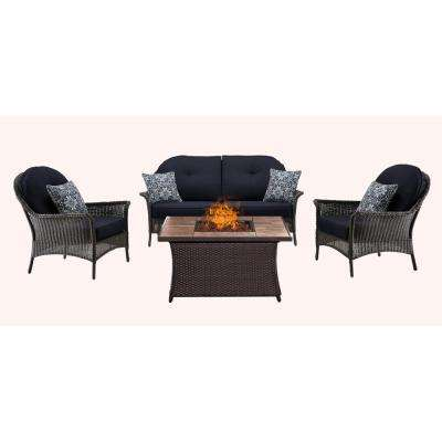 San Marino 4-Piece All-Weather Wicker Patio Fire Pit Seating Set with Tile-Top Fire Pit and Navy Blue Cushions
