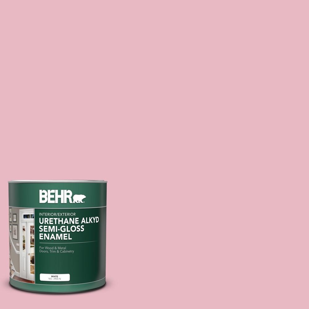 Behr 1 Qt M150 2 Peppermint Stick Semi Gloss Enamel Urethane Alkyd Interior Exterior Paint 390004 The Home Depot