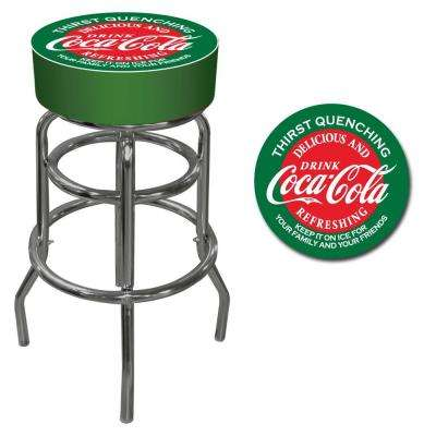 Red and Green Coca Cola 31 in. Chrome Swivel Cushioned Bar Stool