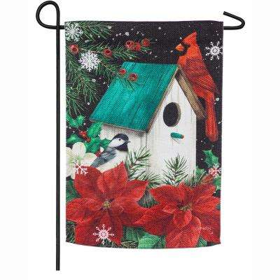 18 in. x 12.5 in. Poinsettia Birdhouse Garden Textured Suede Flag