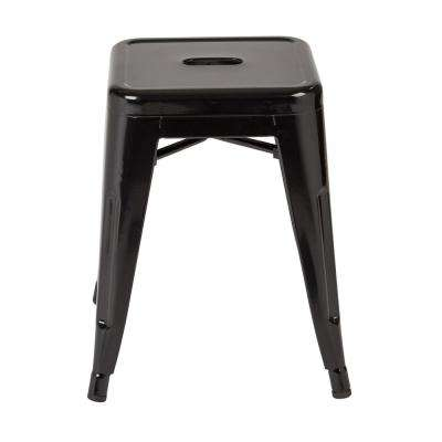 Patterson 18 in. Black Powder Coated Steel Metal Backless Stool Fully Assembled (2-Pack)