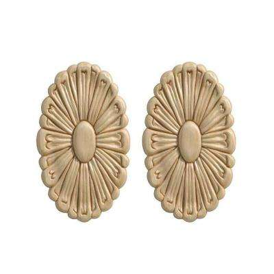13641PK 7/32 in. x 3-5/16 in. x 5-3/4 in. Birch Small Rosette Onlay Ornament Moulding (2-Pack)