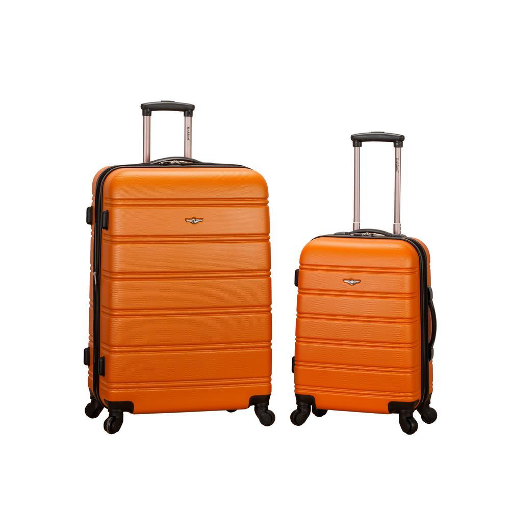 Rockland Melbourne Expandable 2-Piece Hardside Spinner Luggage Set, Orange