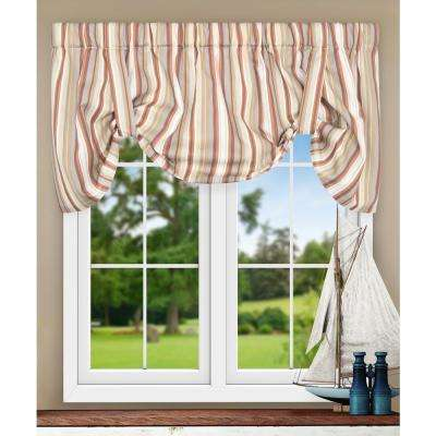 Mason Stripe 22 in. L Poly/Cotton Tie-Up Valance in Clay