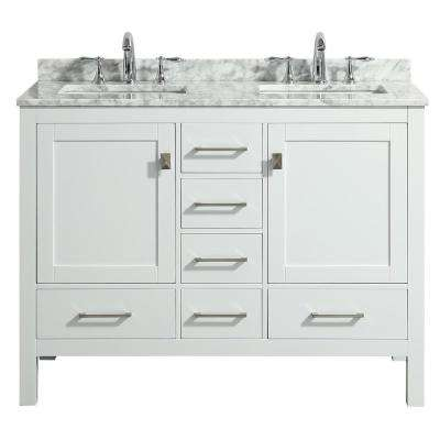 London 48 in. x 18 in. Transitional White Bathroom Vanity with White Carrara marble and double Porcelain Sinks