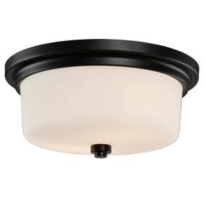 Aubrey 13 in. 2-Light Matte Black Semi-Flush Mount Ceiling Light