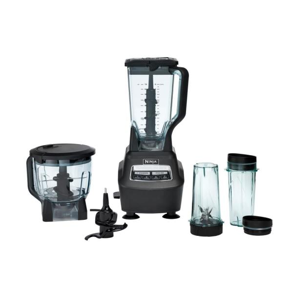 Mega Kitchen System 72 oz. 3-Speed Black Blender and Food Processor
