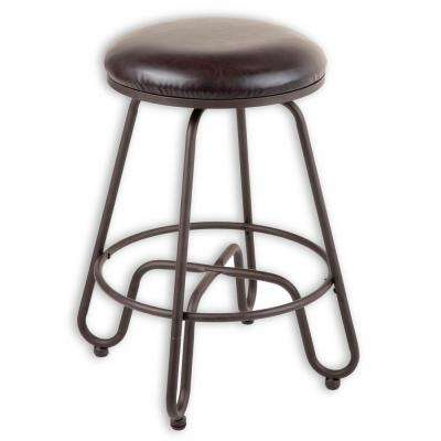 Denver 26 in. Metal Counter Stool with Backless Brown Upholstered Swivel-Seat and Umber Metal Frame Finish