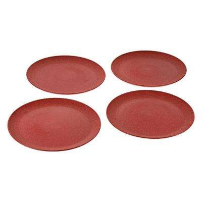 EVO Sustainable Goods 10 in. Red Eco-Friendly Wood-Plastic Composite Plate (Set of 4)