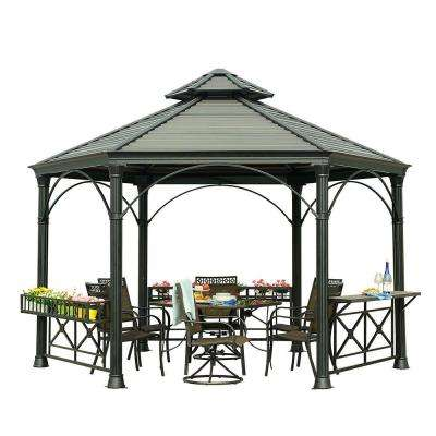 Holden 13.75 ft. x 12 ft. Black Hard Top Gazebo