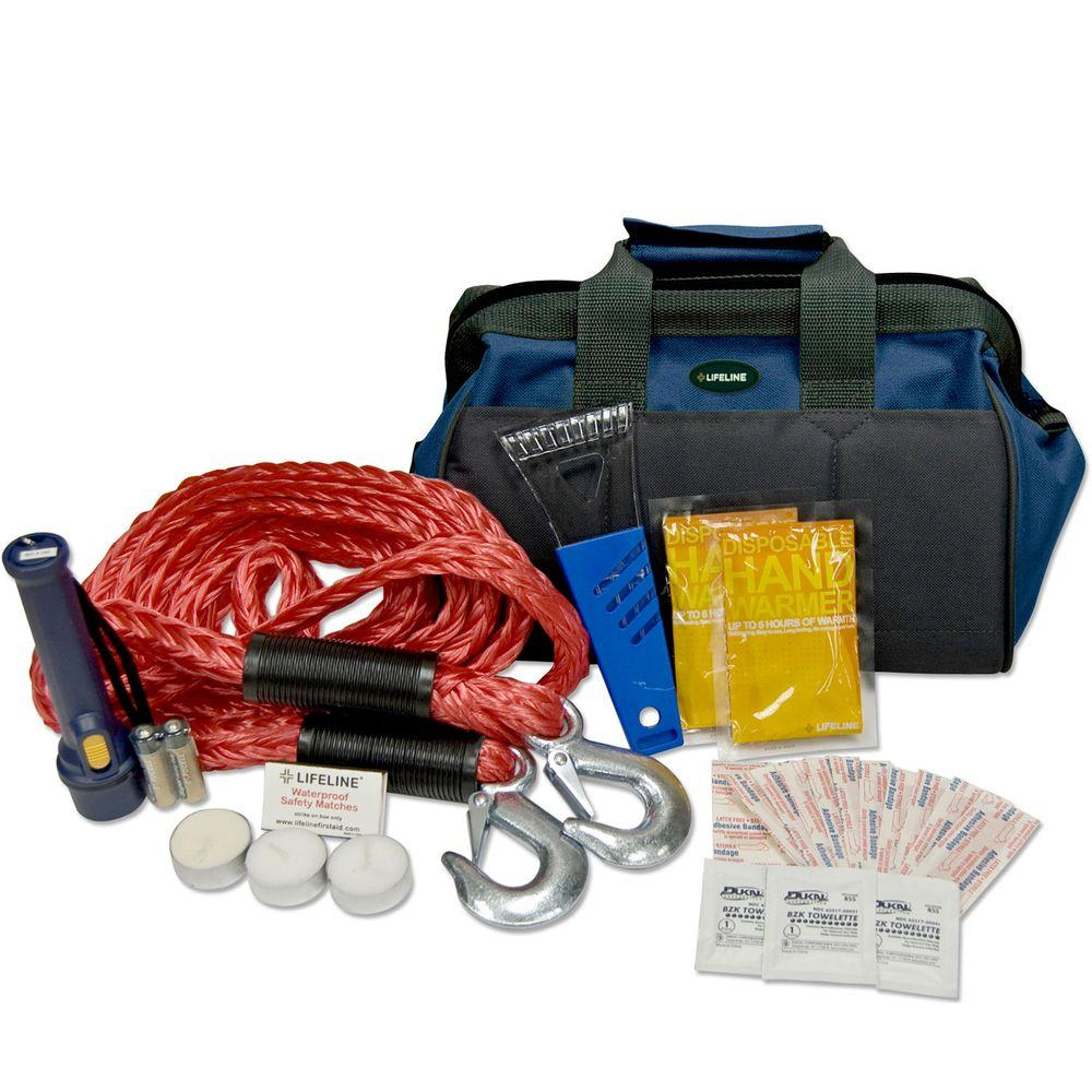 Lifeline 30-Piece Winter Emergency Road Safety and First Aid Tow Kit