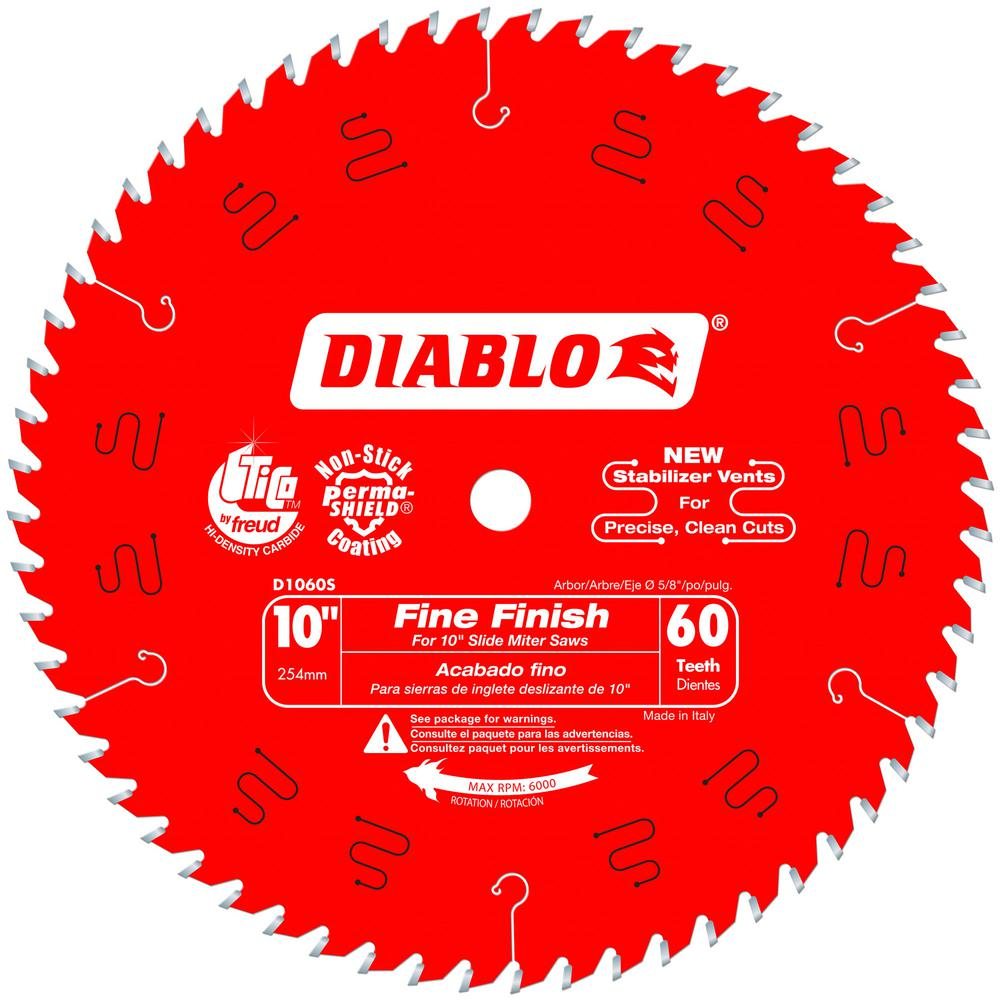 Diablo 10 In X 60 Tooth Fine Finish Slide Miter Saw Blade