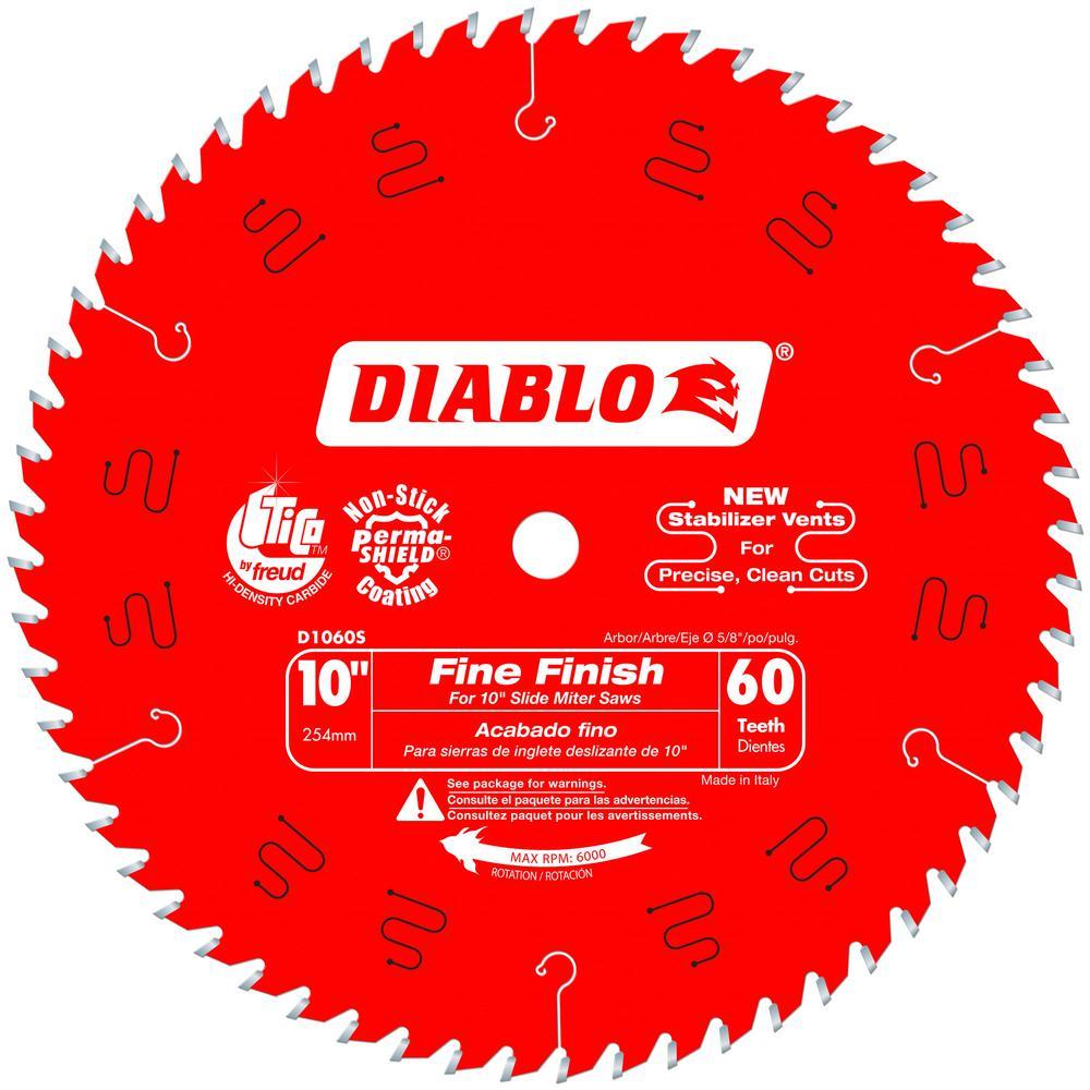 Diablo 10 inch x 60-Tooth Fine Finish Slide Miter Saw Blade by Diablo