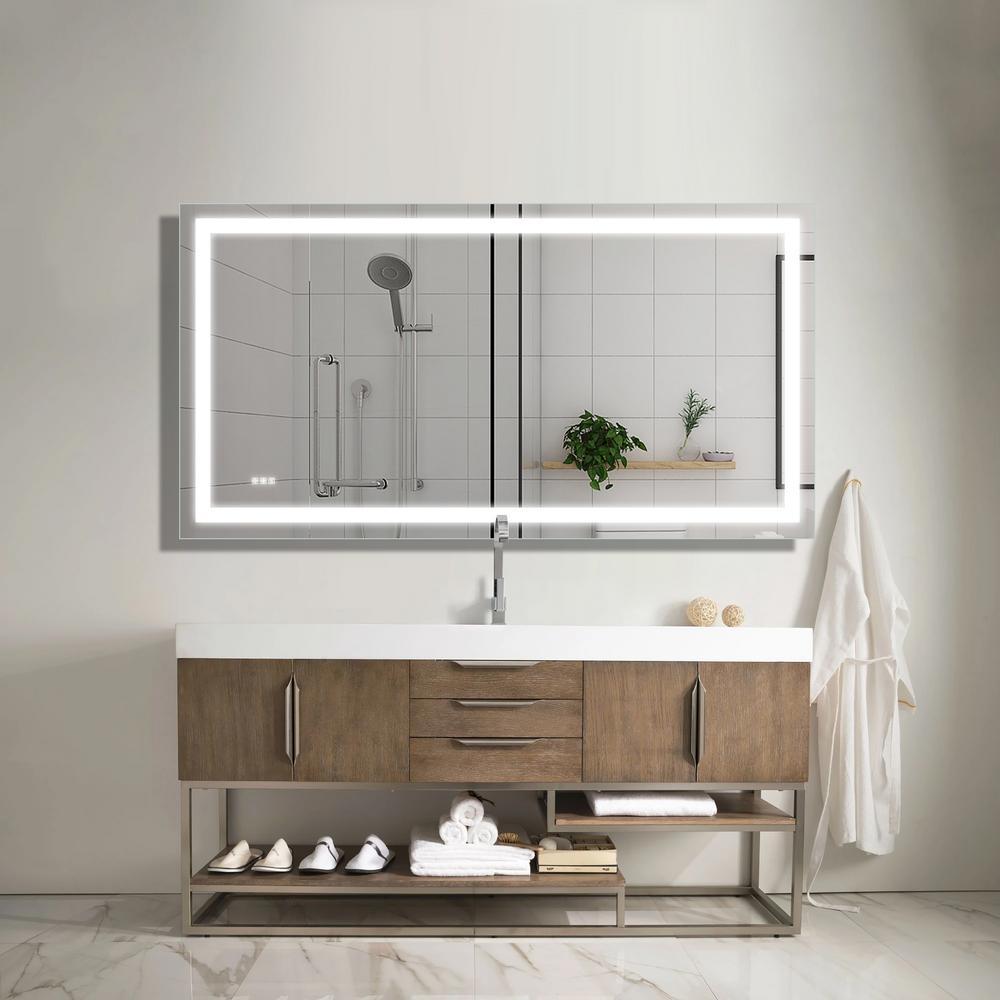 Boyel Living 72 In W X 38 In H Frameless Rectangular Led Light Bathroom Vanity Mirror Kf Md04 7236sf2 The Home Depot