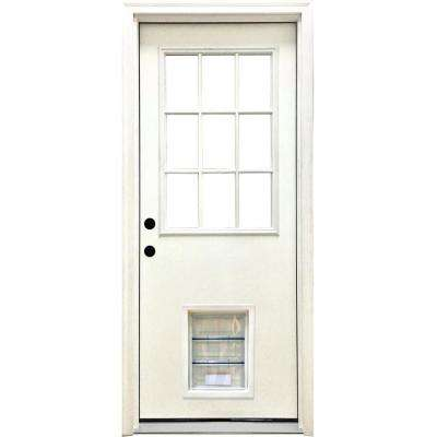 32 in. x 80 in. Classic Clear 9 Lite RHIS White Primed Fiberglass Prehung Front Door with XL Pet Door