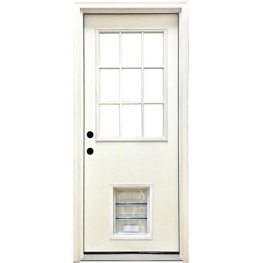 32 in. x 80 in. Classic Clear 9 Lite RHIS White Primed Fiberglass Prehung Front Door with XL Pet Door