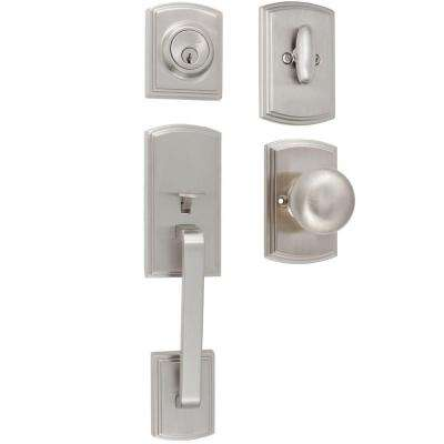 Visconti Single Cylinder Satin Nickel Door Handleset with Santo Interior