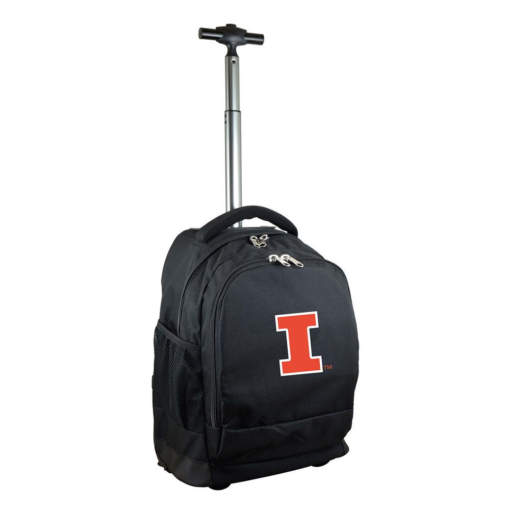 NCAA Illinois 19 in. Black Wheeled Premium Backpack